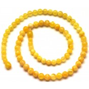 Round beads yellow  Baltic amber necklace