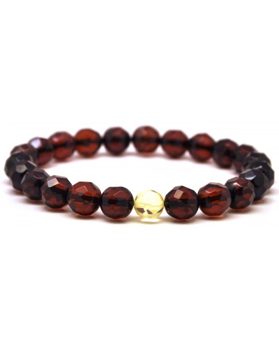 Faceted round beads Baltic amber bracelet 8 mm.