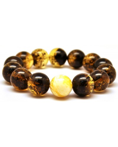 Round beads green Baltic amber bracelet 14,5 - 15 mm.
