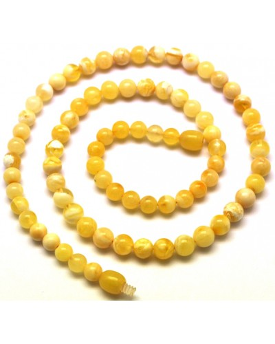 Natural Baltic amber round beads necklace