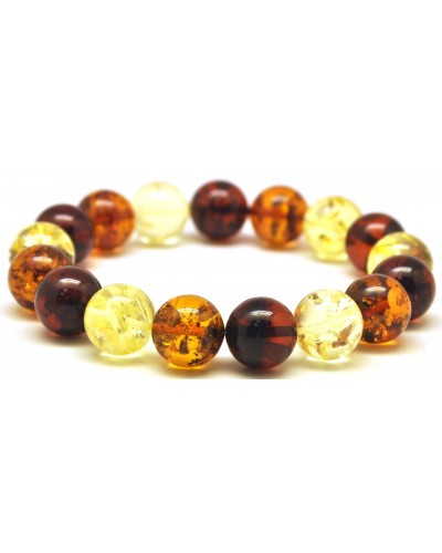Multicolor round beads Baltic amber bracelet 12 - 12,5 mm.