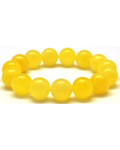 Yellow round beads Baltic amber bracelet  13,5 mm.