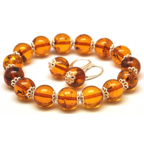 Round beads cognac Baltic amber set of bracelet and earrings 12 mm.