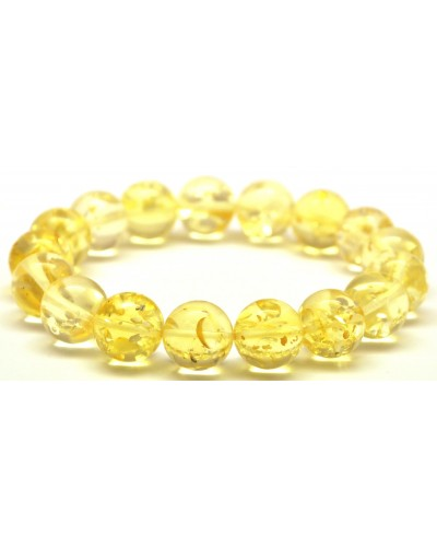 Round beads Baltic amber bracelet 11,3 mm.