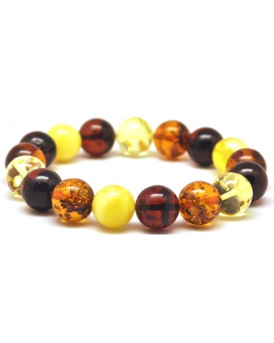 Round beads Baltic amber bracelet 11 - 12 mm.