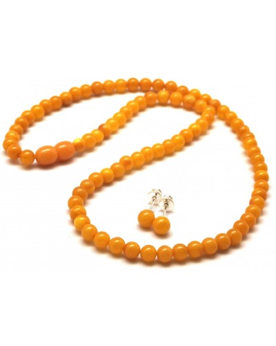 Round beads antique Baltic amber set of necklace and earrings