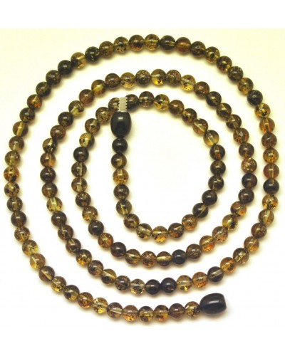 Round beads long green  Baltic amber necklace
