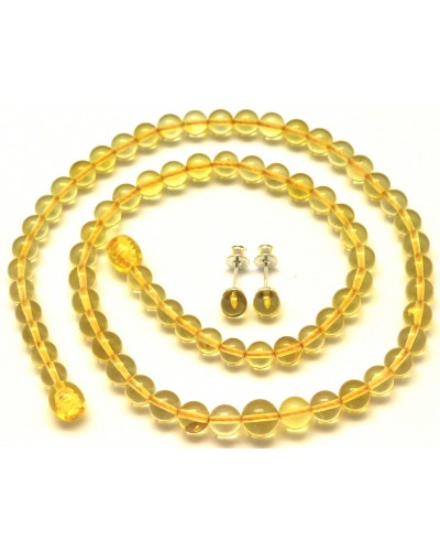 Round beads lemon Baltic amber set of necklace and earrings