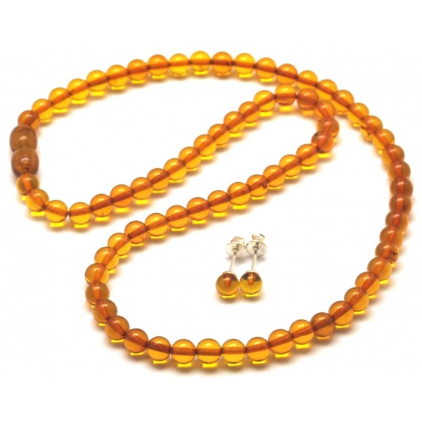 Amber necklaces | Round beads cognac Baltic amber set of necklace and earrings