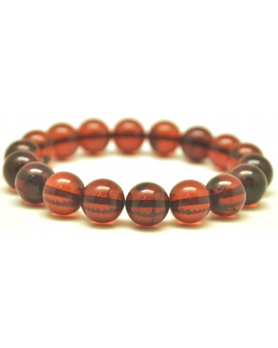 Cherry round beads Baltic amber bracelet  10,4 mm.