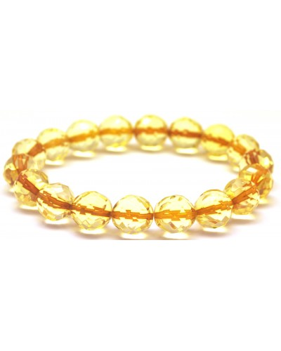 Faceted round beads Baltic amber bracelet 10 - 11 mm.
