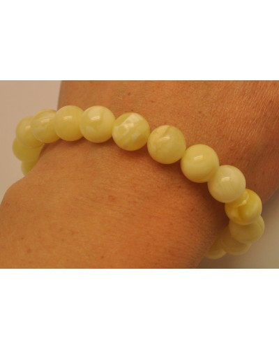 White round beads Baltic amber bracelet  9,8 mm.