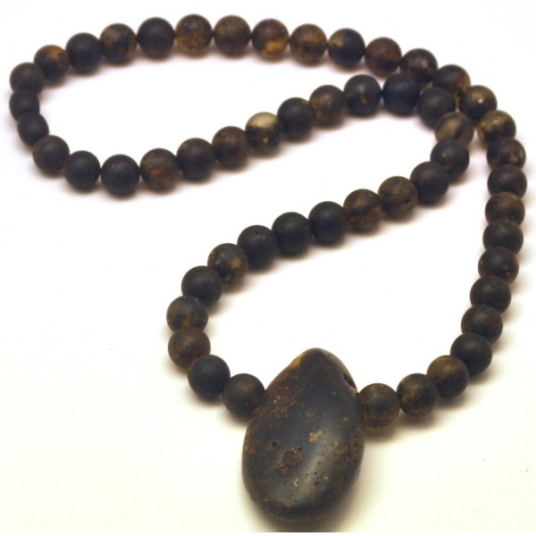 Raw | Raw healing round beads Baltic amber necklace with pendant