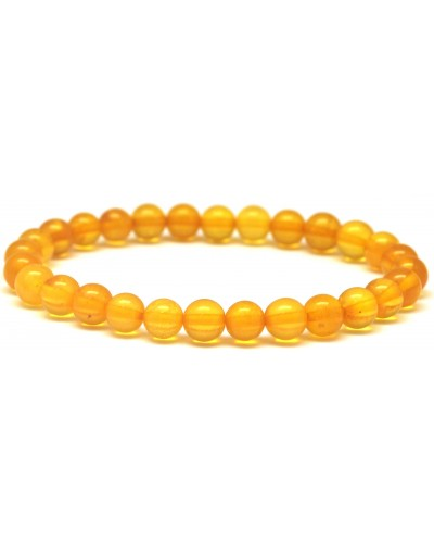 Round beads honey Baltic amber bracelet 7 mm.