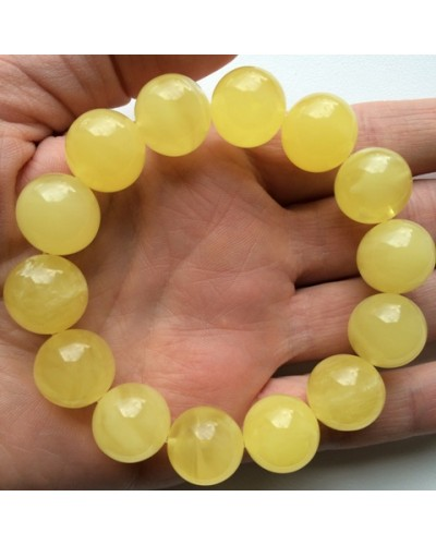 Natural round beads amber bracelet 15 mm.