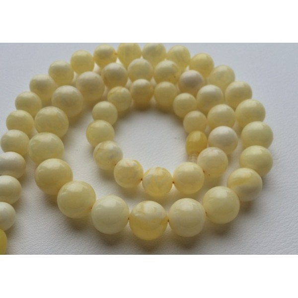 Natural White Amber Round Beads Necklace From Online