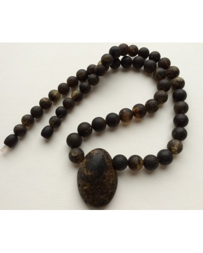 Raw healling round beads  amber necklace with pendant