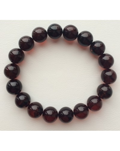 Cherry round beads Baltic amber bracelet  10 mm.