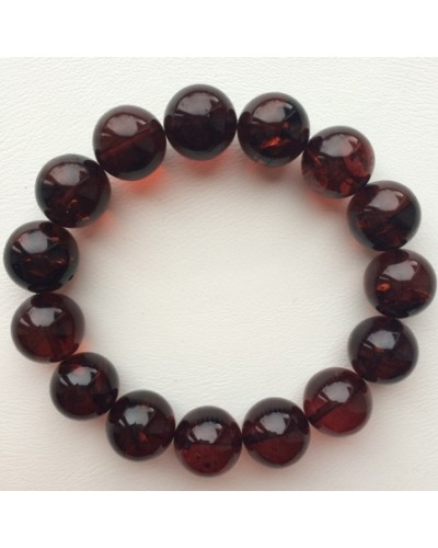 Cherry round beads Baltic amber bracelet  13-14 mm.