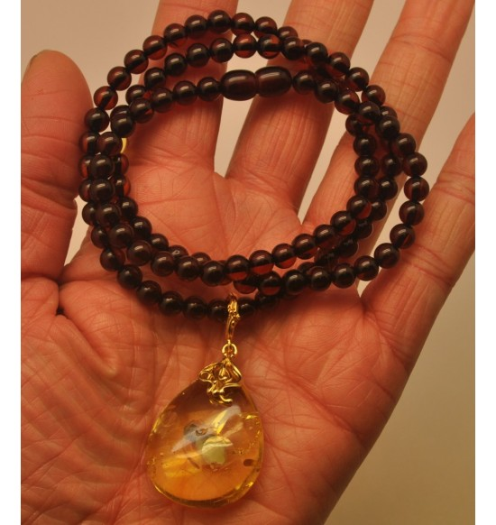 Baltic amber round beads necklace with drop pendant