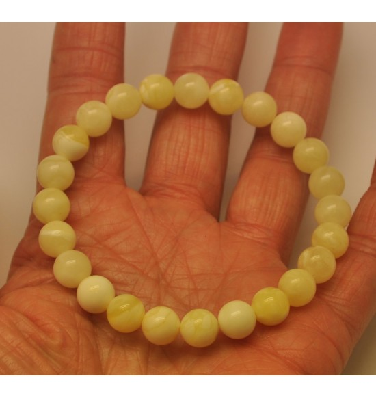 White round beads Baltic amber bracelet  8,3 mm.
