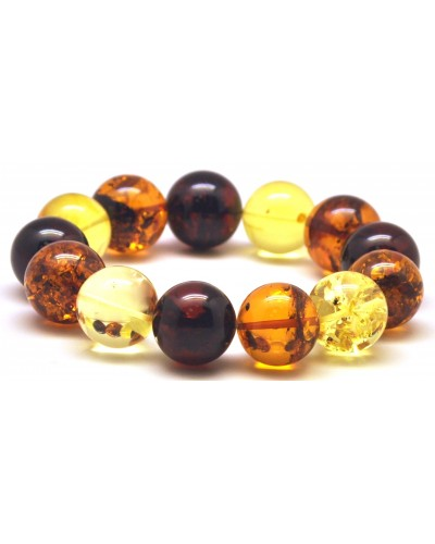 Round beads Baltic amber bracelet 17mm - 18 mm.