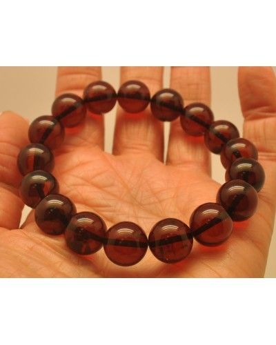 Cherry round beads Baltic amber bracelet  12,5 mm.