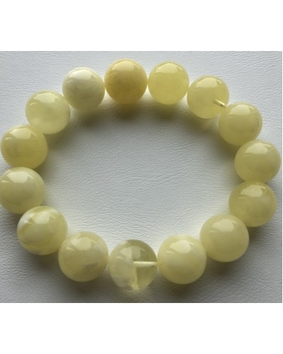 Natural round beads amber bracelet 14,4 mm.