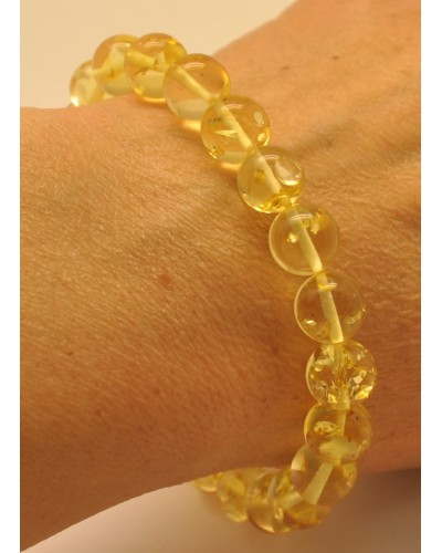 Round beads Baltic amber bracelet 9,5 mm.