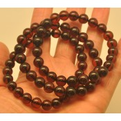 Lot of 3 cherry round beads amber bracelets  8 - 9 mm.