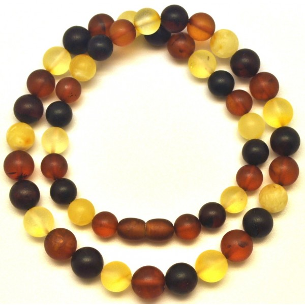 Amber necklaces | Round beads unpolished multicolor Baltic amber necklace