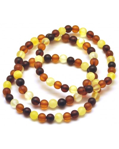 Lot of 3 unpolished round beads amber bracelets