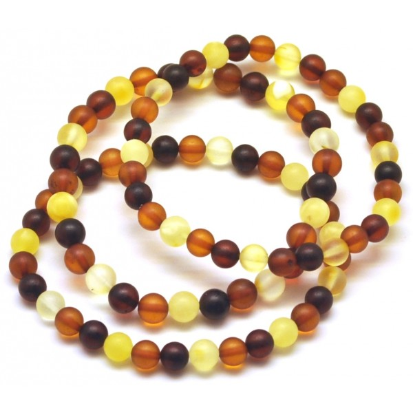 Round amber beads | Lot of 3 unpolished round beads Baltic amber bracelets