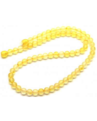 Natural transparent unpolished amber round beads necklace