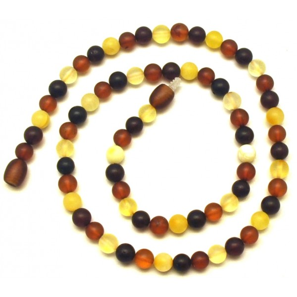 Round beads unpolished multicolor  Baltic amber necklace
