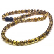 Green Baltic amber round beads necklace