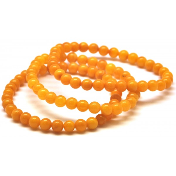 3 Antique color round beads amber bracelets 5,7 mm.
