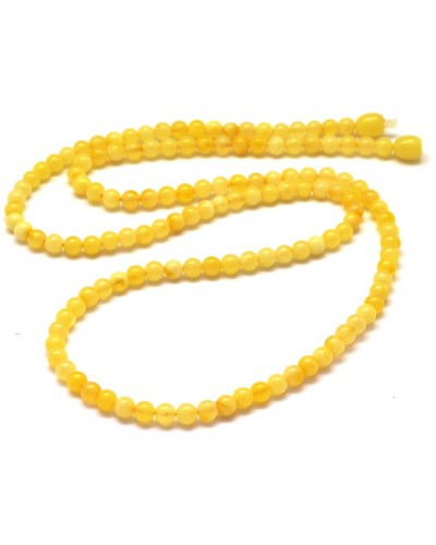 Natural long amber round beads necklace