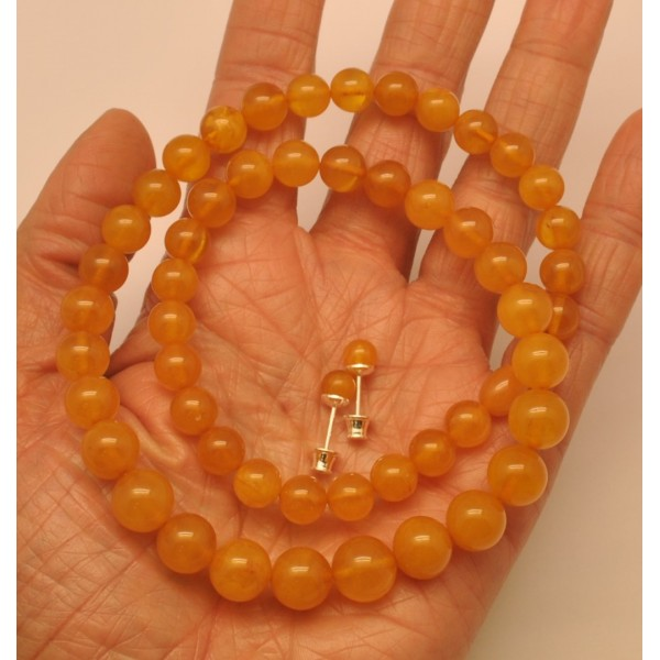 Amber necklaces | Round beads amber set of necklace and earrings