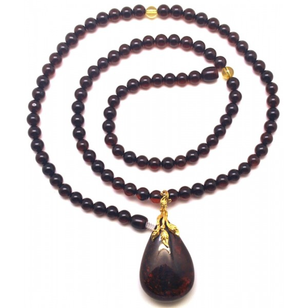 Amber necklaces | Baltic amber round beads necklace with pendant