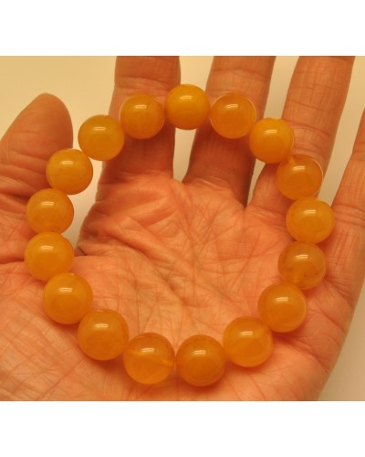 Natural round beads antique color Baltic amber bracelet 12 mm.