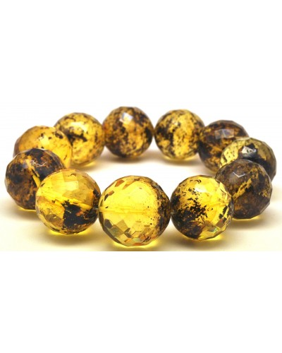 Green faceted round beads Baltic amber bracelet 20 mm.