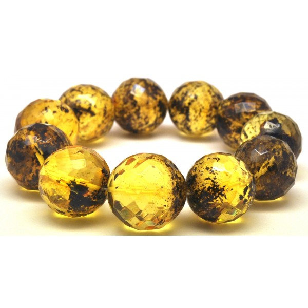 Amber bracelets | Green faceted round beads Baltic amber bracelet 20 mm.