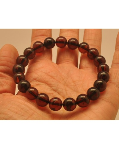 Cherry round beads Baltic amber bracelet  9 - 10 mm.