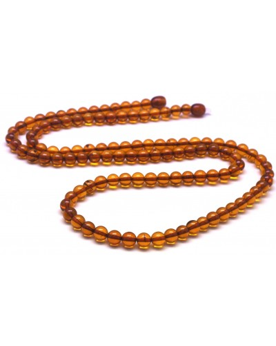 Round beads long cognac  Baltic amber necklace