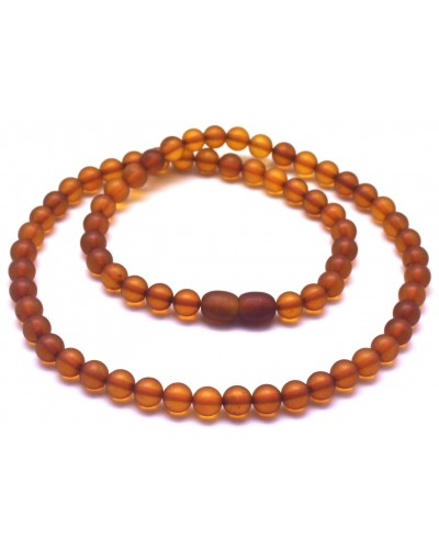 Round beads unpolished cognac  Baltic amber necklace