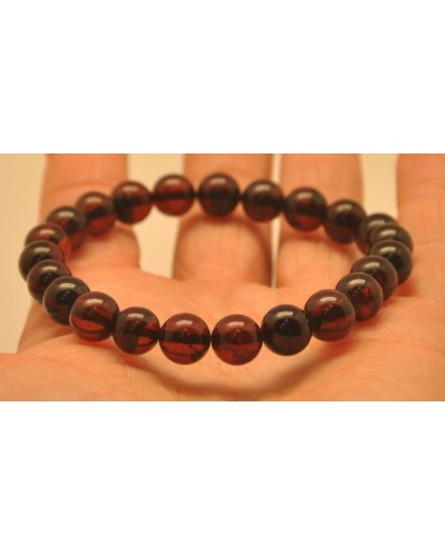 Cherry round beads Baltic amber bracelet  8,5 mm.