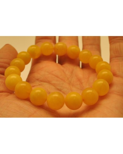 Natural round beads antique color Baltic amber bracelet 11 mm.