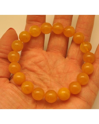 Natural round beads antique color Baltic amber bracelet 10 - 11 mm.
