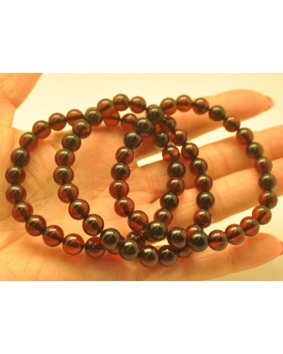 Lot of 3 cherry round beads amber bracelets  8 mm.